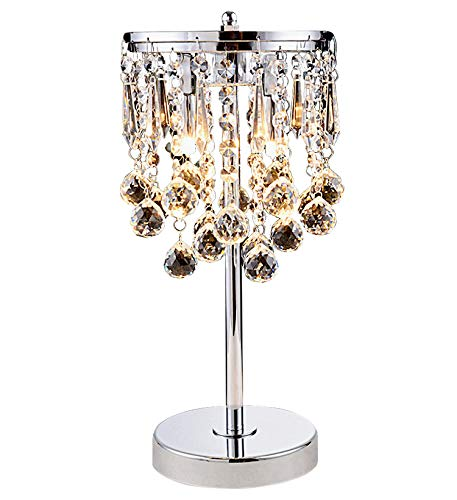 Hsyile KU300144 Elegant Modern Chrome Crystal Chandelier For Bedroom Nightstand Table Lamp