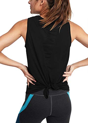 Mippo Womens Sexy Workout Tank Tops Open Back Mesh Yoga Shirts Muscle Gym Tank Fitness Active Beach Sports Exercise Tops Summer Clothes Black S
