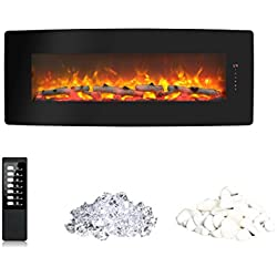 innoflameWall Mounted Electric Fireplace 50 Inch Heater 1400W with Remote Control (Black)