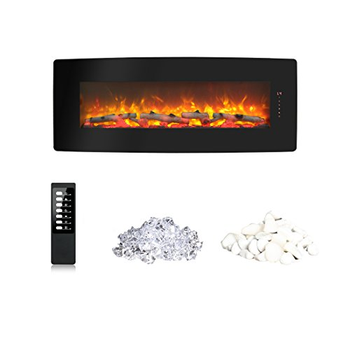 Fireplace Blower Heater - innoflame Wall Mounted Electric Fireplace 50 Inch Heater 1400W with Remote Control (Black)