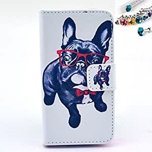 DD With Eyes Of A Dog Pattern PU Leather Full Body Case with Card Slot and Stand for iPhone 4/4S