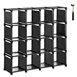 SONGMICS 16-Cube Shoe Rack, DIY Modular Storage Shelves, Bookshelf Toy Rack, Display Cabinet and Closet Organiser Unit, Includes Rubber Mallet, Black ULSN44BK