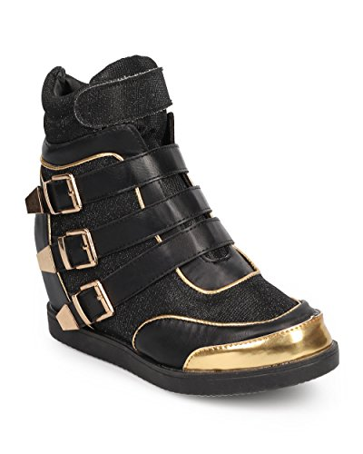 ジェム髄富Nature Breeze da90レディースShimmer Strappy Buckle High Top Wedge Sneaker – ブラック
