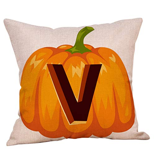 Aqua Halloween Lyrics (Unionm 5# Pillow Covers Decorative Throw Pillow Case Halloween Theme Pumpkin Alphabet Printed 45cm x 45cm 18 x 18 inches Cushion Cover for Home Sofa Car 1)