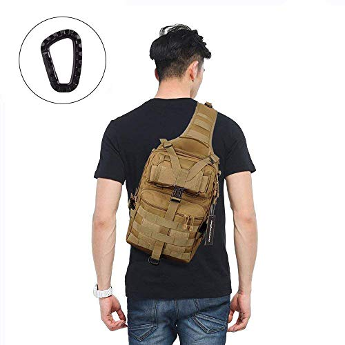 FUNANASUN Tactical Sling Backpack Bag Military Molle Assault Pack Rucksack Daypack for Outdoors Camping Hiking Hunting (Tan) ()