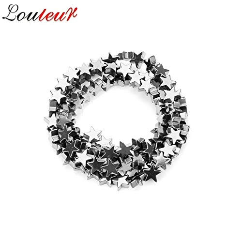 Calvas LOULEUR Natural Hematite Stone Stars Shape Beads 6/8/10mm Colorful Flat Star Loose Spacer Beads for DIY Necklace Jewelry Making - (Color: Silver, Item Diameter: ()