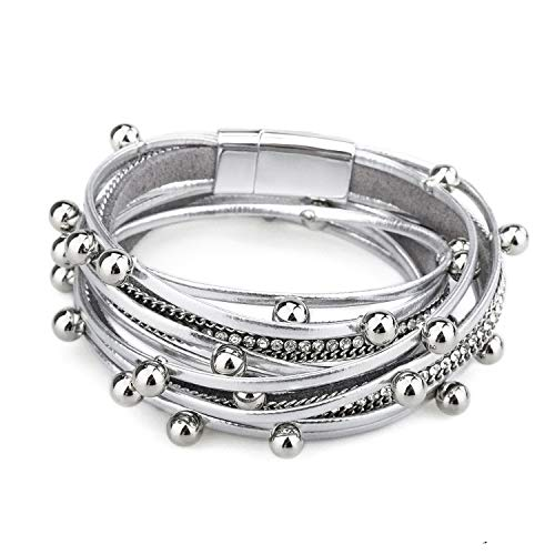 Gleamart Multi-Layer Leather Bracelet Beads Wrap Cuff Bangle for Women Girls Silver