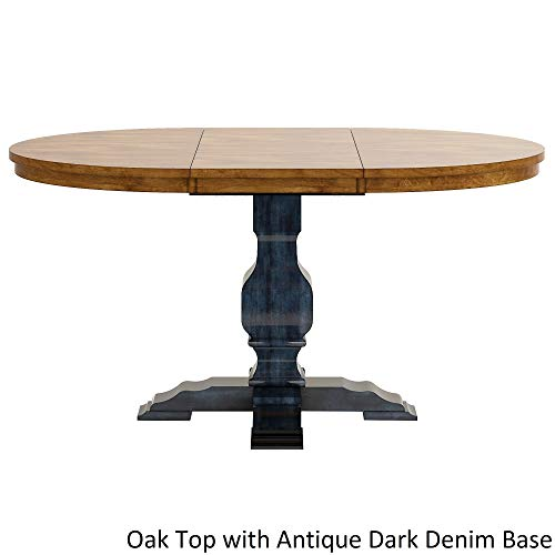 Inspire Q Eleanor Two-Tone Oval Solid Wood Top Extending Dining Table by Classic Blue Oak Finish, Blue Finish
