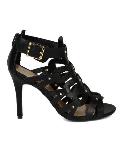 Breckelle BK35 Women Leatherette Studded Open Toe Gladiator Stiletto Heel Sandal, Black