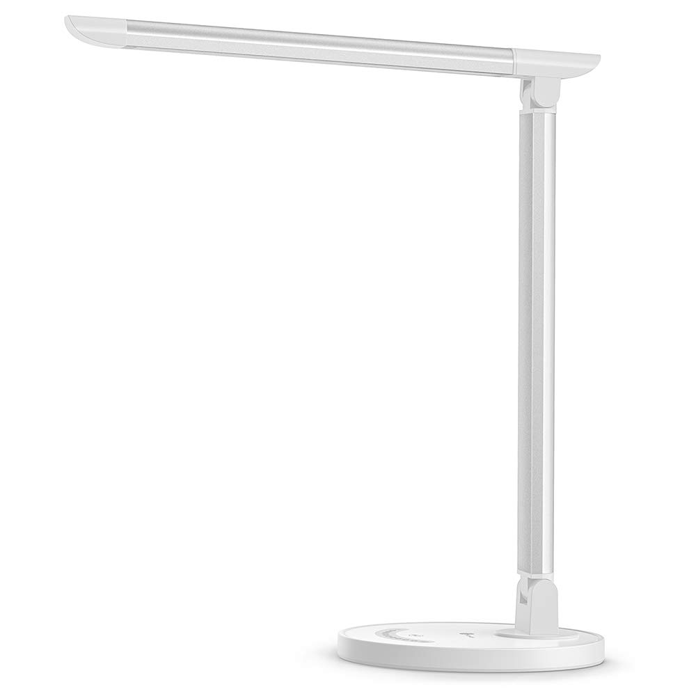 TaoTronics LED Desk Lamp, Eye-caring Table Lamps, Dimmable Office Lamp with USB Charging Port, 5 Lighting Modes with 7 Brightness Levels, Touch Control, White, 12W, Philips EnabLED Licensing Program by TaoTronics (Image #1)