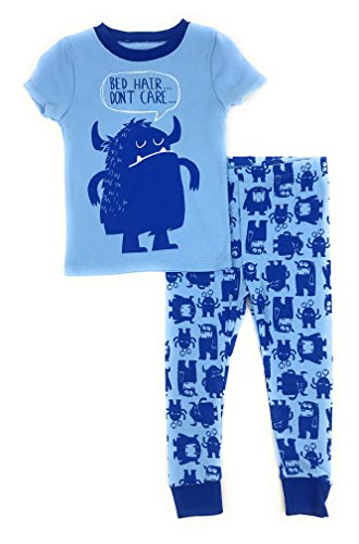 (Baby and Toddler Boys Snug Fit Graphic Pajama Shirt and Pants Two-Piece Set (4T, Bed Hair Monster) )