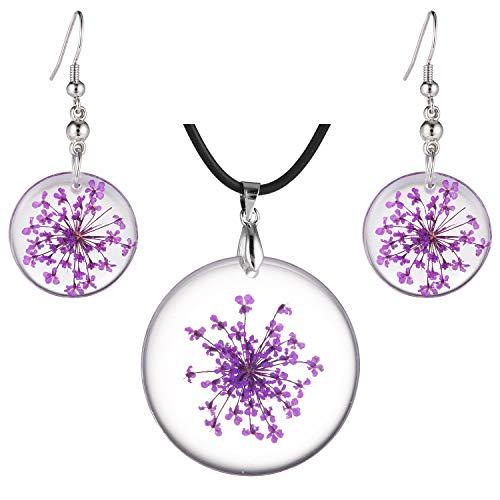 - FM FM42 Purple Pressed Queen Anne's Lace Flower Round Disc Drop Dangle Earrings Pendant Necklace Jewelry Set FS1001
