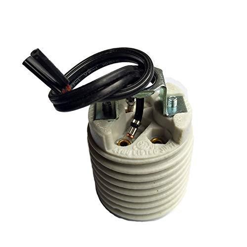 (Keyless Porcelain Threaded Socket,TWDRTDD Medium base E26 threaded Keyless porcelain socket with brackets (With 10cm)