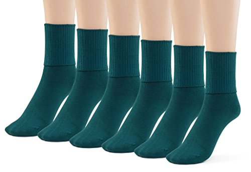 Silky Toes 6 Pk Triple Roll Bamboo School Socks, Turn Cuff Girls Boys Casual Crew Socks (Medium (8-9), Hunter Green (6 Pack))