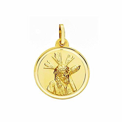 Médaille pendentif 18k 18mm or Christ Gran Poder. lunette lisse [AA2568GR] - personnalisable - ENREGISTREMENT inclus dans le prix