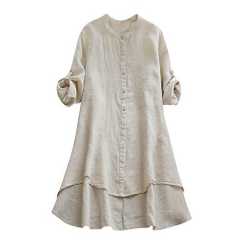OrchidAmor Women A Shirts Casual Loose Linen Soild Button Thin Long Sleeve Long Shirt Blouse Tops Casual T Shirts Beige ()