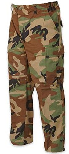 Woodland Camo Relaxed Fit Military Zipper Fly 6-Pockets BDU Cargo Pants