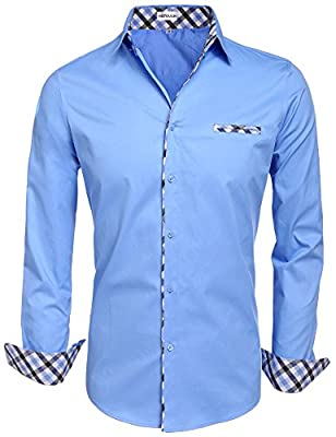 HOTOUCH Mens Long Sleeve Inner Contrast Casual Button Down Shirts