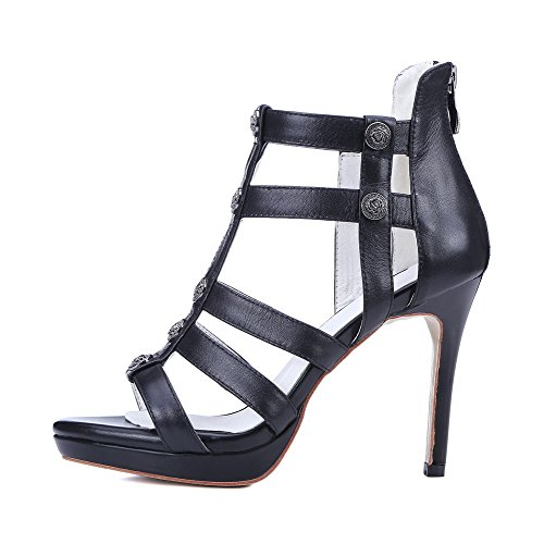 AgooLar Women's Zipper Open Toe Spikes Stilettos Solid Sandals Black xNJRvleVE