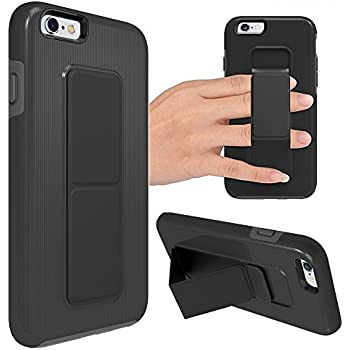 iPhone 6 Plus Case, iPhone 6S Plus Case, ZVEdeng Vertical and Horizontal Stand Hand Strap Kickstand Shockproof Heavy Duty Dual Layer Cover for Apple iPhone 6 Plus / 6s Plus 5.5'' Black and Grey