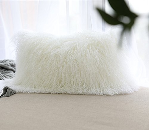 Fur Cover - ROSE FEATHER Real 100% Tibetan Mongolian Lamb Sheepskin Wool Fur Super Soft Plush Leather Pillowcase Cushion Cover,White 12x20inch
