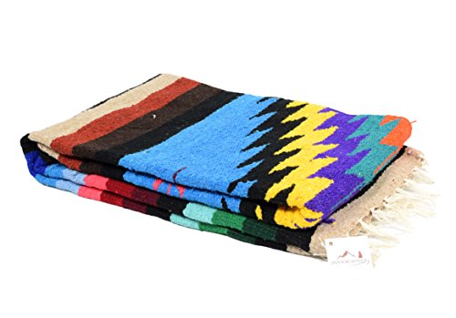 Open Road Goods Mexican Yoga Blanket, Navajo Aztec Southwestern Diamond XL Thick Serape with Stripes