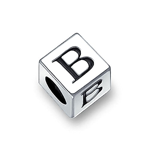 Block Letter B Alphabet Initial Charm Bead For Women For Teen 925 Sterling Silver For European - Sterling Block Alphabet Holes Silver