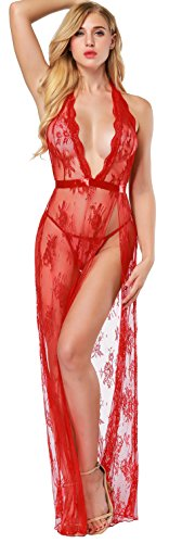 Lingerie Gown - The victory of cupid White Lace Sexy Trailing Noble Dress Dress Sexy Underwear Long Gown¡­ (S, red)