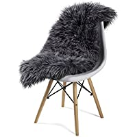Handmade Sheepskin Rug - Authentic European Sheepskin, Handmade, 100% Natural Sheepskin Rug, Available in Large, Medium or Small Sizes (Gray)