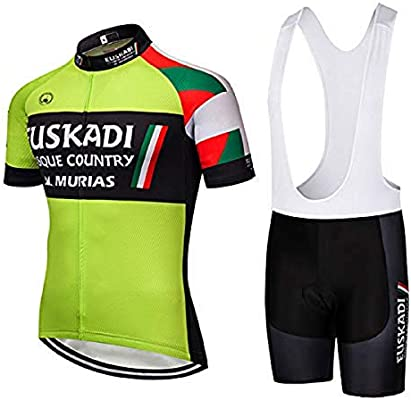 SUHINFE Traje Ciclismo Hombre, Maillot Ciclismo y Culotte Ciclismo con 5D Gel Pad para Verano Deportes al Aire Libre Ciclo Bicicleta, EUS-Green, L: Amazon.es: Deportes y aire libre