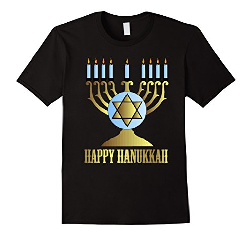 Men's HANNUKAH MENORAH - HAPPY HANUKKAH T SHIRT Medium Black