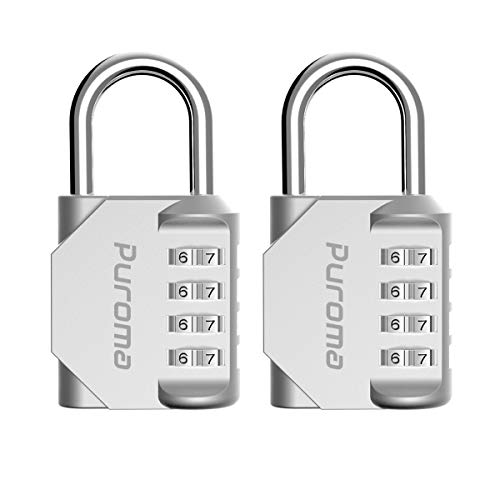 Puroma 2 Pack Combination Lock 4 Digit Padlock for School Gym Locker, Sports Locker, Fence, Toolbox, Case, Hasp Storage (Silver) by Puroma