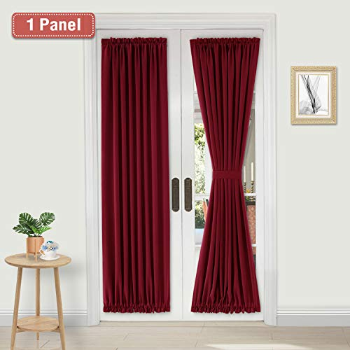 DWCN French Door Curtains - Rod Pocket Thermal Blackout Curtain for Doors with Glass Window, Kitchen and Patio Doors for Privacy, 25 X 72 Inches Long, 1 Curtain Panel with Tieback, Burgundy