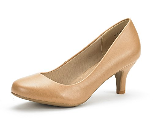 DREAM PAIRS Women's LUVLY Taupe PU Bridal Wedding Low Heel Pump Shoes - 8 M (Round Toe Comfort Pump Shoe)