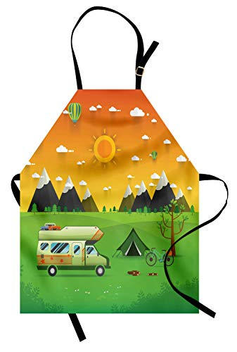 Ambesonne Camping Apron, National Mountain Park Campsite Landscape with Family Trailer Caravan and Tent, Unisex Kitchen Bib Apron with Adjustable Neck for Cooking Baking Gardening, Multicolor]()