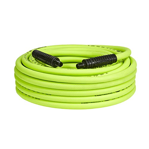 Flexzilla Air Hose, 3/8 in. x 50 ft., 1/4 in. MNPT Fittings, Heavy Duty, Lightweight, Hybrid, ZillaGreen - HFZ3850YW2 (Best Air Impact Wrench 2019)