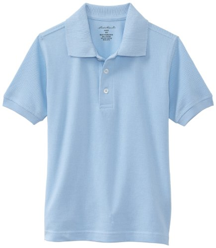 Eddie Bauer Little Boys' Uniform Short Sleeve Pique Polo Shirt,Light Blue,Large