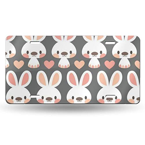WGCXX Cute Little Bunnies Customized Personalized Metal License Plate, License Plate Metal Signage Car Decoration 6 Inches X 12 Inches,Customizable Signature