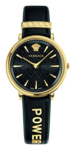 Versace Women's 'Manifesto Edition' Swiss Quartz Gold-Tone and Leather Casual Watch, Color Black (Model: VBP040017)
