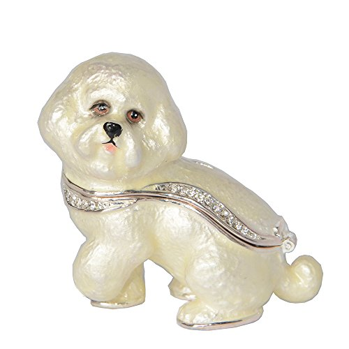 Dog Hinged Trinket Box - Minihouse Bichon Frise Enameled Pewter Dog Trinket Box Hinged Keepsake Box Mom Gifts