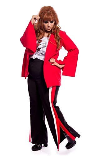 Calça Com Listras Laterais Vermelha Plus Size