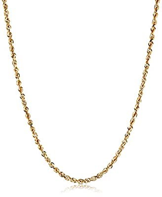 Men's 14k Yellow Gold Solid Diamond-Cut Rope Chain Necklace (3.0mm) by Amazon Collection