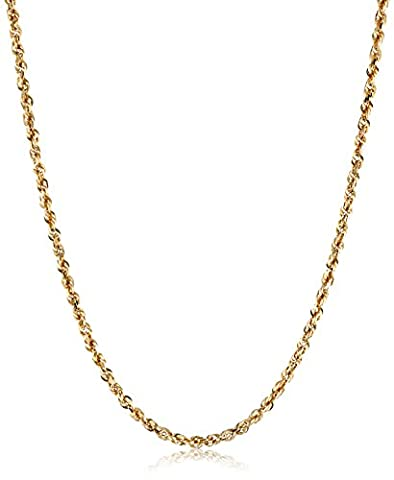 Men's 14k Yellow Gold Solid Diamond-Cut Rope Chain Necklace (3.0mm), 24