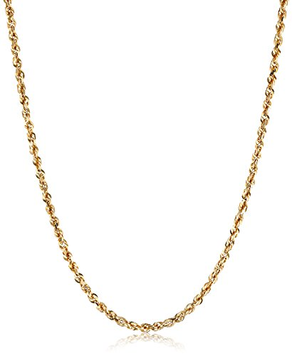 Yellow Solid Diamond Cut Chain Necklace