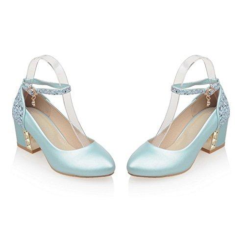 Balamasa Dames Kitten-hakken Punt-teen Comfort Zacht Materiaal Pumps-schoenen Blauw