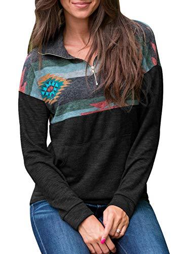 FARYSAYS Women's Color Block Long Sleeve 1/4 Zip Floral Long Sleeve Pullover Sweatshirt Tops Black Large by FARYSAYS