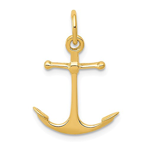 14k Yellow Gold Polished Anchor Charm or Pendant ()