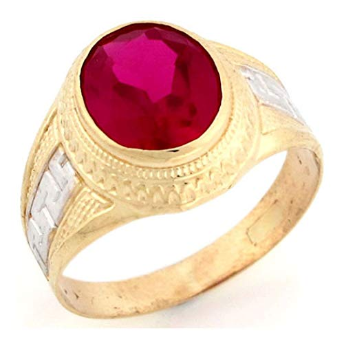 10k Two Tone Solid Gold 12x10 Oval Simulated Ruby July Birthstone Mens Ring (Style# 2811) - Size 8 ()