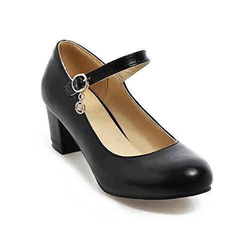 Balamasa Femmes Bout Rond Gros Talons Boucle Uréthane Pompes-chaussures Noir