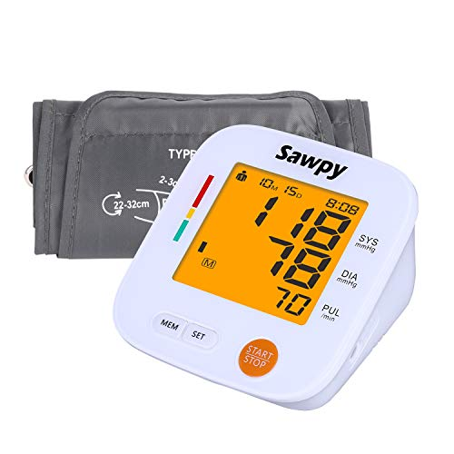 Upper Arm Electronic Blood Pressure Monitor with Cuff, Sawpy Blood Pressure Machine, fits Standard and Large Arm, Batteries not Included-FDA Approved